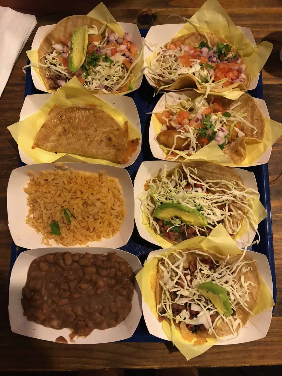 Huge platter of tacos, rice, beans, and a quesadilla from Oscar's in San Diego