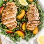 Healthy Peach and Pistachio Salad with Grilled Chicken Pinterest Image
