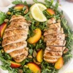Peach and Pistachio Salad with Grilled Chicken