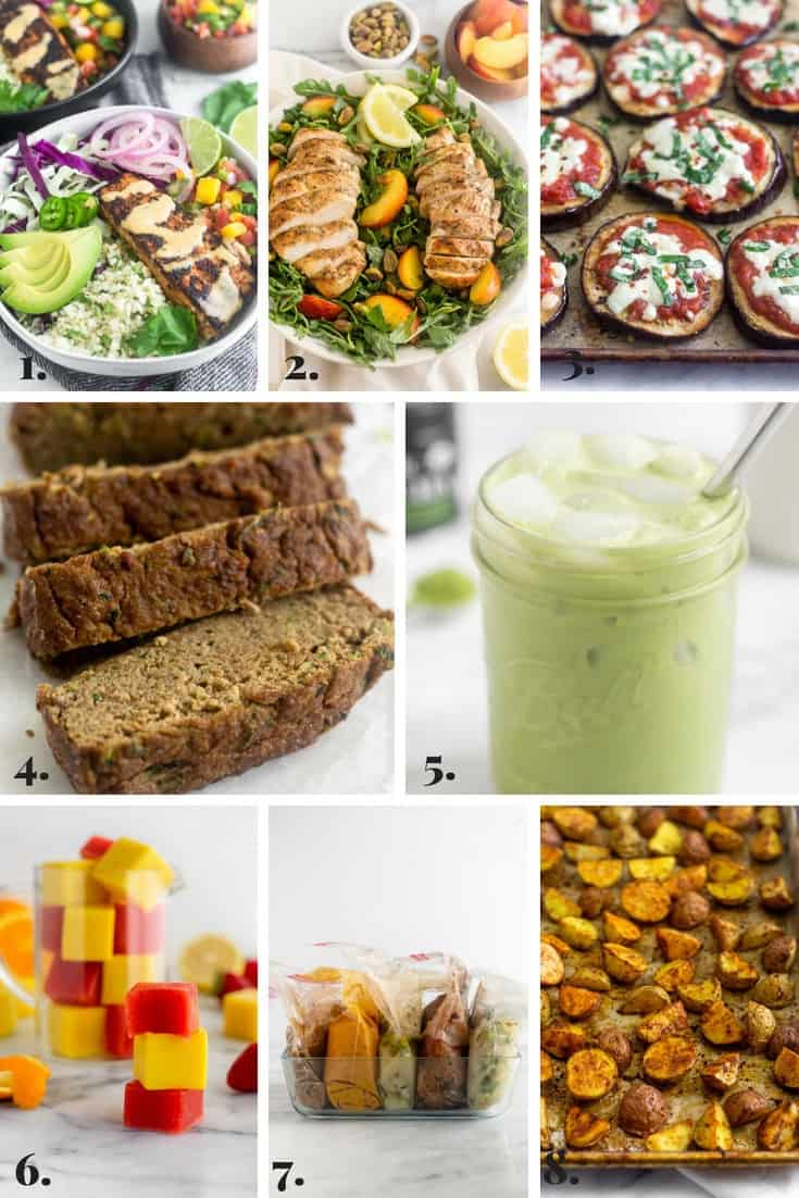 Collage of all the recipes made on Eat the Gains in July