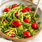 Zucchini Noodles with Blistered Tomatoes & Basil