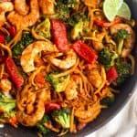 Whole30 Shrimp & Butternut Squash Noodles with Curry Peanut Sauce Pinterest image