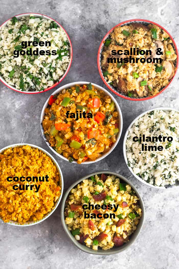 Overhead shot of 6 different bowls filled with 6 different paleo and Whole30 cauliflower rice recipes with text overtop the dishes to say what they are.