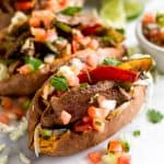 Steak Fajita Stuffed Sweet Potatoes Pinterest image