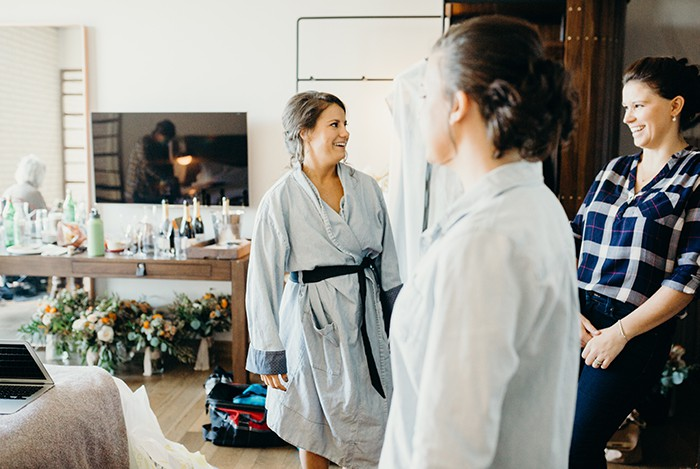 Group of girls getting ready for a wedding.