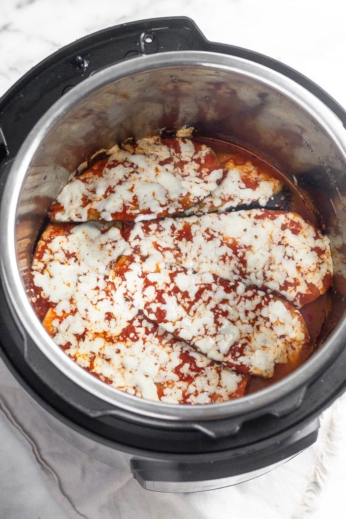 Instant Pot Eggplant Parmesan just after it has been cooked in the Instant Pot.
