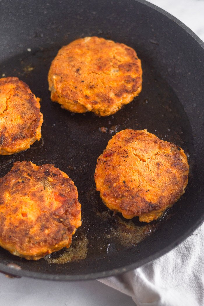 Pan fried homemade salmon burgers.