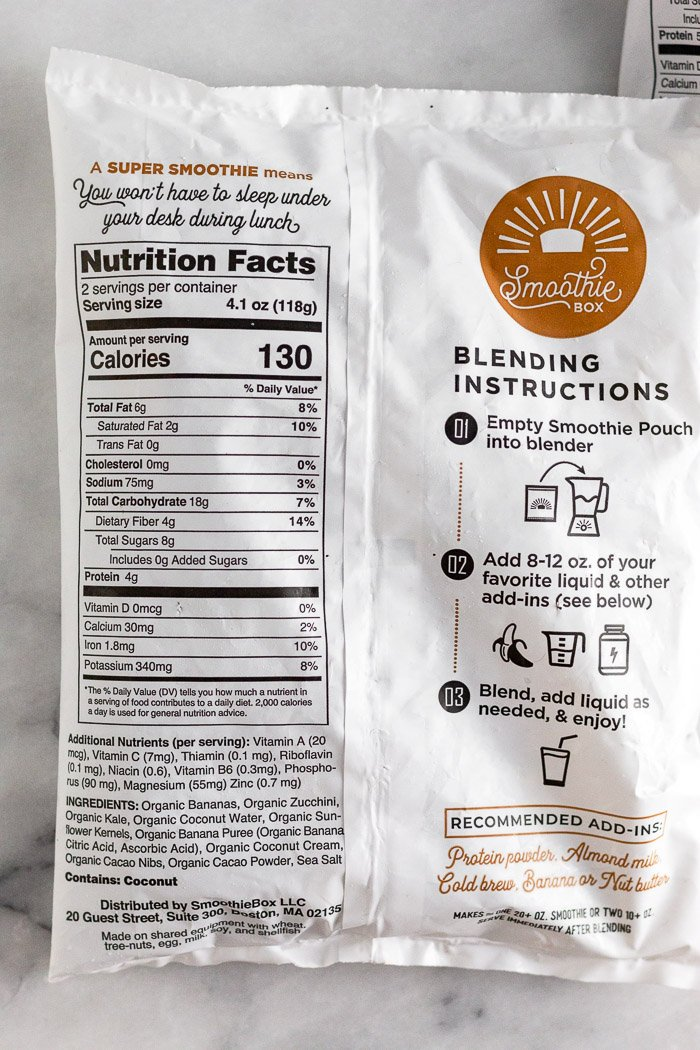 Smoothie box nutrition facts for the cacao flavor