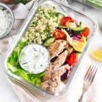 Greek Chicken Bowls Pinterest image
