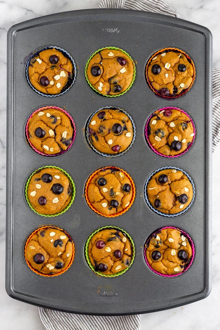 12 blender sweet potato blueberry protein muffins just baked in a muffin tin.