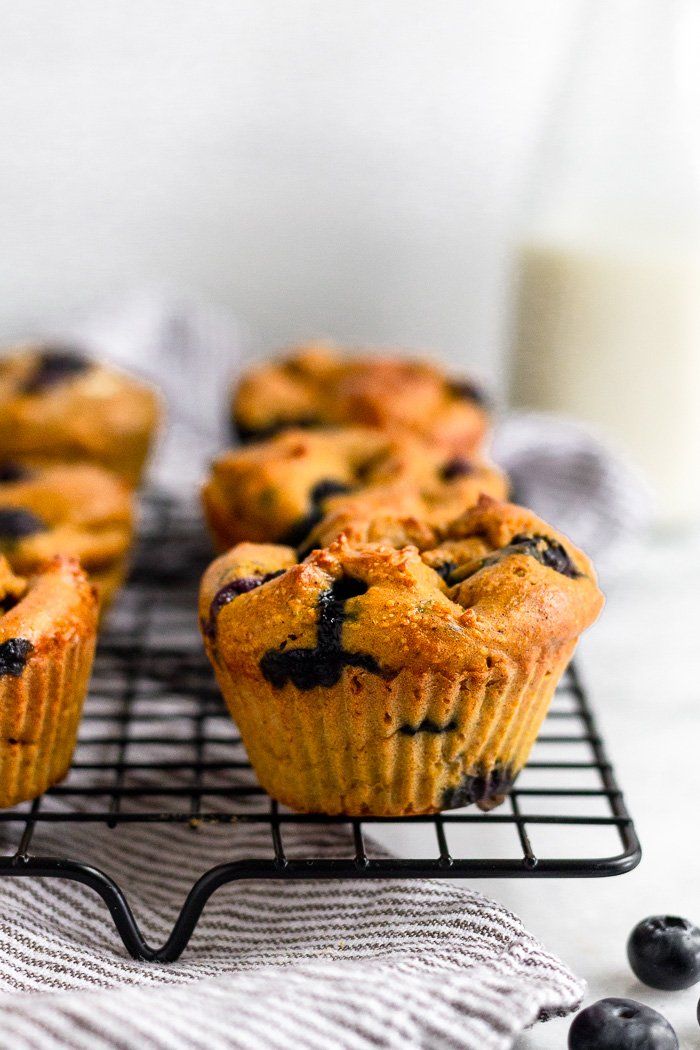 Sweet potato muffins with blueberries sitting on a cooling rack on a stripped towel. There are some blueberries in front of them and a jar of milk behind.