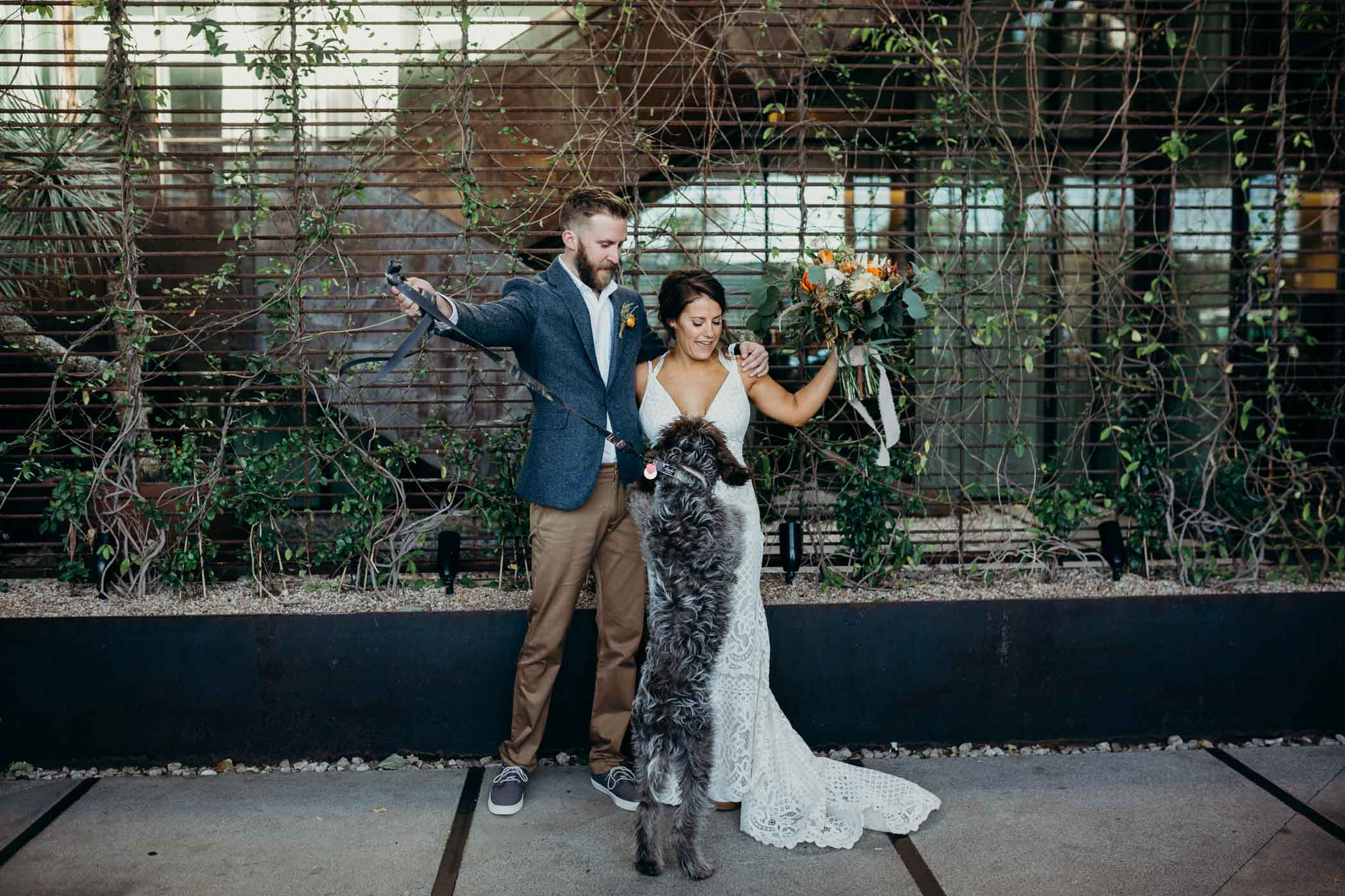 Bride and groom getting ready to take a picture and their dog jumping up at them.