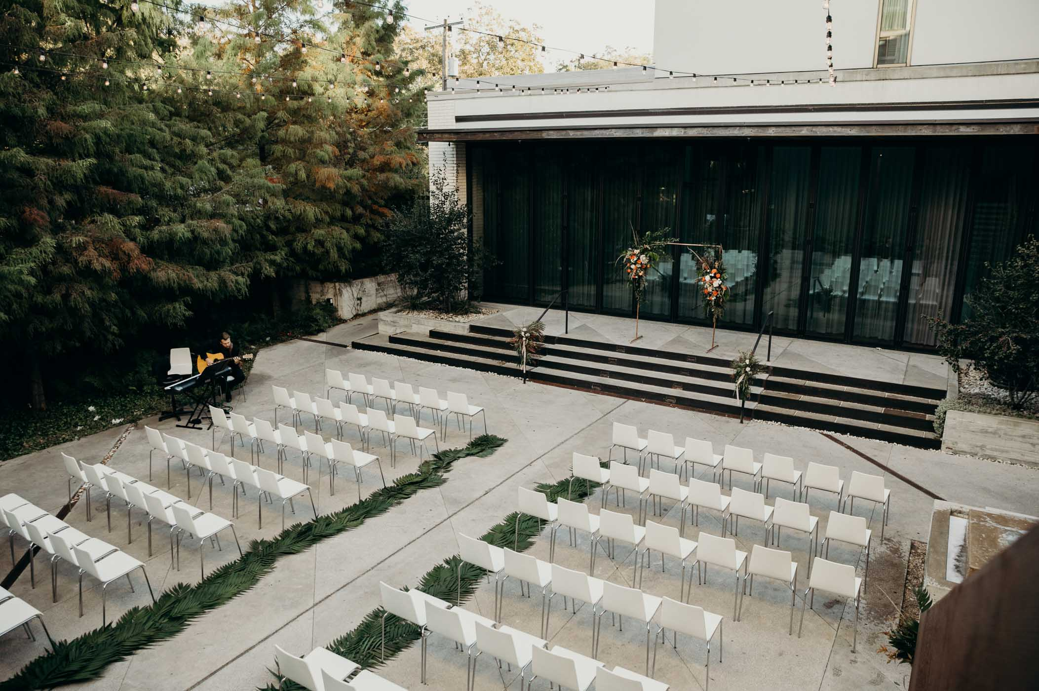 Small courtyard set up for a wedding.