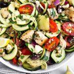 Greek Chicken Pasta Salad Pinterest image