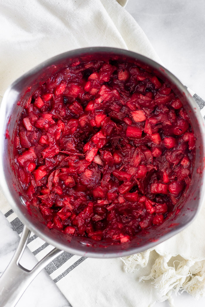 Pot of just cooked healthy cranberry sauce.