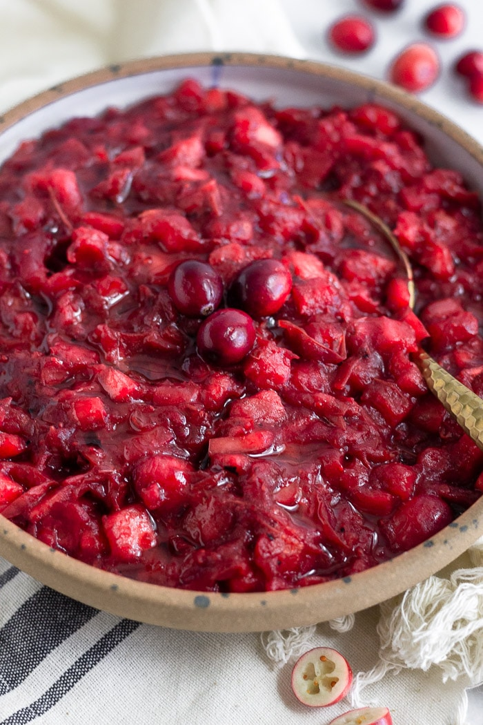 Bowl of homemade cranberry sauce topped with 3 whole cranberries and spoon coming out of it. It is on a towel with cranberries behind it.