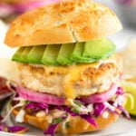 Mahi Mahi Burgers with Chipotle Mayo & Cabbage Slaw