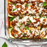 Zucchini Pizza Boats with Sausage Pinterest Text