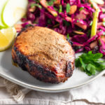 Air Fryer Pork Chops with Cabbage Apple Salad Pinterest image