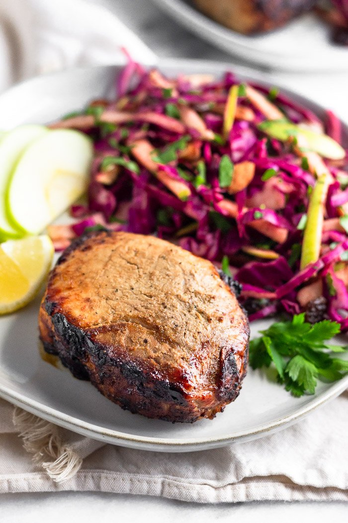 Pork Chops With Balsamic-Braised Cabbage and Apples