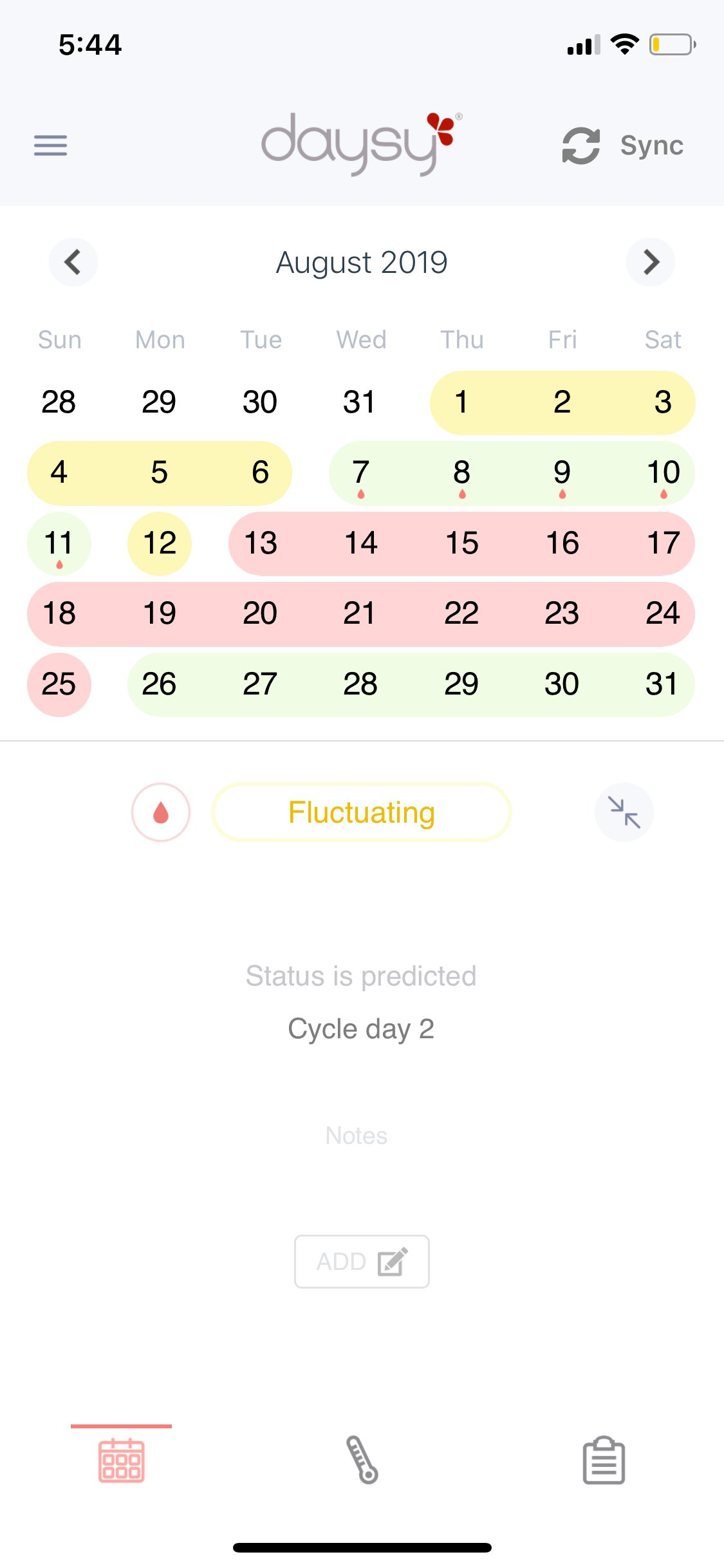Screenshot of the calendar in the Dasysview app.