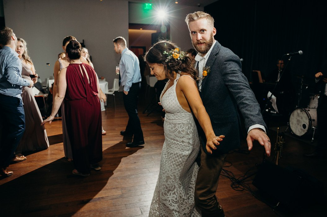 Bride and groom dancing on their wedding day.