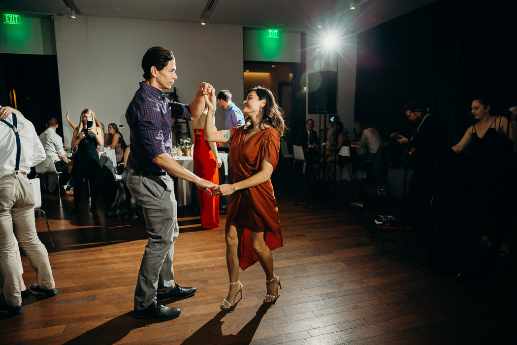 Couple dancing at a wedding.