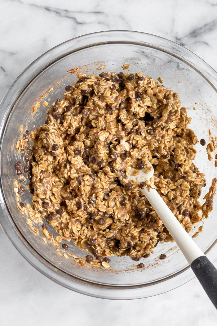 Bowl with the batter for healthy baked oatmeal cups.