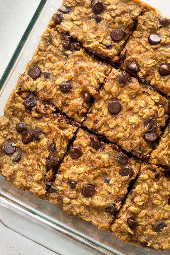 Overhead shot of a pan filled with peanut butter oatmeal chocolate chip bars