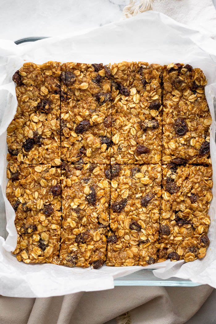 Glass baking dish filled with oatmeal protein bars.