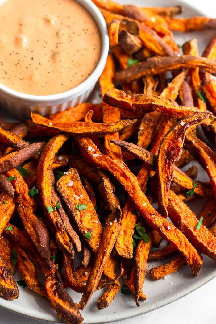 Close up of homemade sweet potato fries cooked in an air fryer