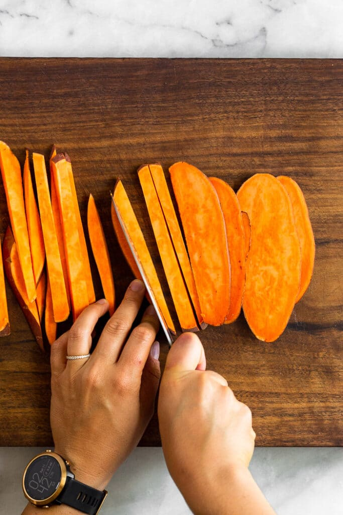 Overhead shot of How to cut sweet potatoes into fries