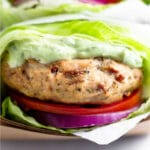 Sun-dried tomato chicken burgers Pinterest image