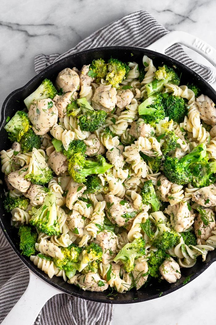 Overhead shot of chicken broccoli ranch pasta in a large pan.