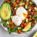 Breakfast Salad with Poached Eggs Pinterest image