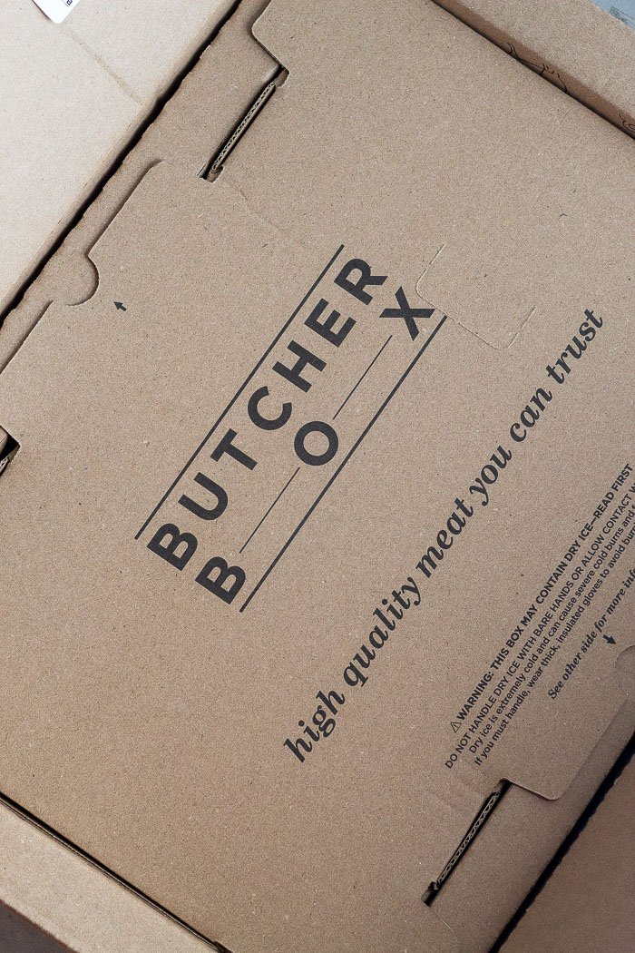 A box that says butcherbox on it that is not opened yet.