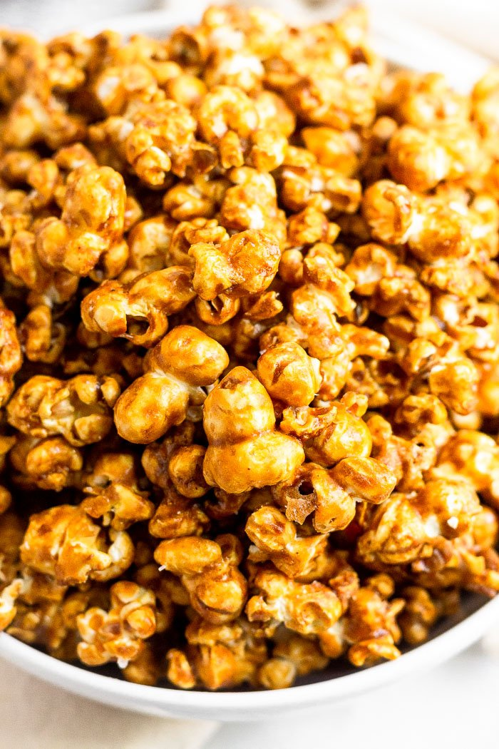 Homemade Caramel Popcorn Recipe No Corn Syrup Eat The Gains