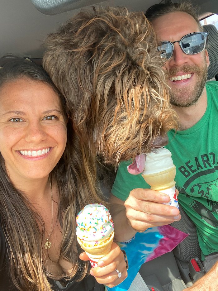 Woman and man both holding ice cream cones with a wirehaired pointing griffon dog between them licking the man's ice cream cone.