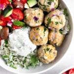 Greek chicken meatballs Pinterest image