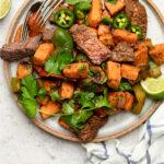 Steak and sweet potatoes Pinterest image