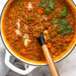 Vegan curry lentil soup Pinterest image