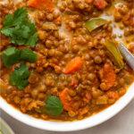 Vegan lentil soup Pinterest image