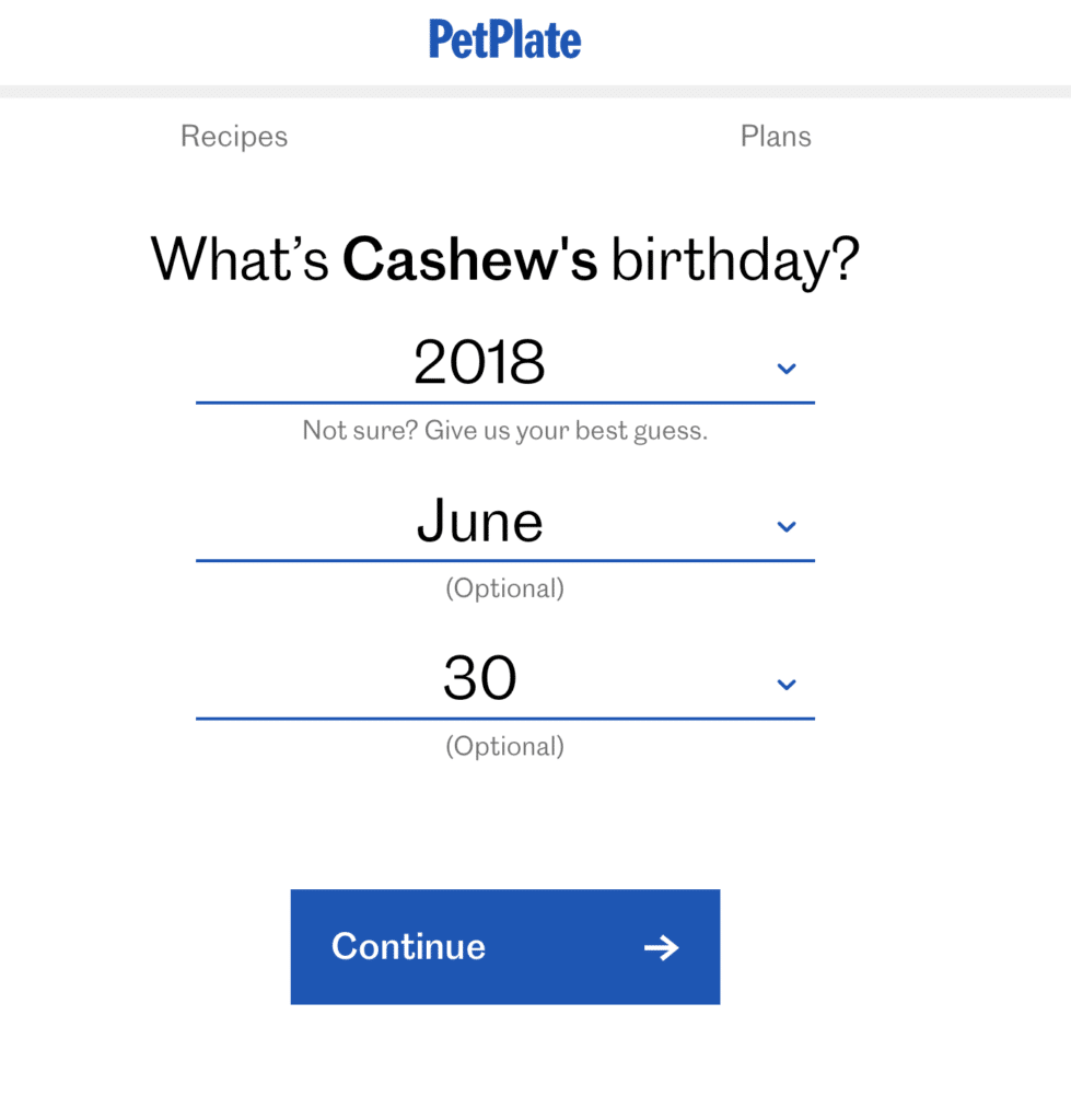 Screenshot of a questionnaire asking the birthday of your dog.