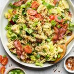 BLT Pasta Salad with Avocado Pinterest image