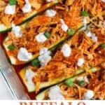 Buffalo Chicken Zucchini Boats Pinterest image
