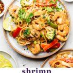 Shrimp Rice Noodles with Peanut Butter Sauce Pinterest image